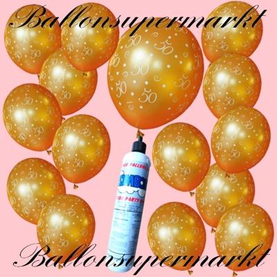Goldene Ballons, Luftballons aus Latex mit den Zahlen 50, zum 50sten, zur Goldenen Hochzeit, mit der kleinen Heliumflasche im Set