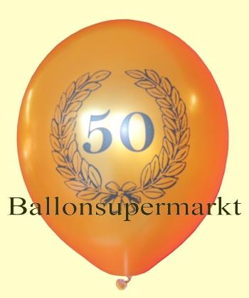 Goldener Luftballon zum 50. Jubiläum, Geburtstag, Hochzeitstag, Zahl 50 im Lorbeerkranz