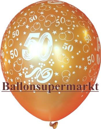 Goldener Luftballon mit der Zahl 50