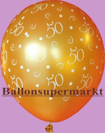 Goldener Luftballon mit Zahlen, Zahl 50, Zahlenballon