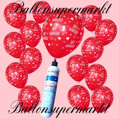 Luftballons Helium Set mit roten Luftballons Just Married und der Mini Helium Einweg Flasche