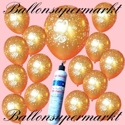 Goldene Luftballons mit der Zahl 50 zur goldenen Hochzeit, Jubiläum, 50. Geburtstag, mit der kleinen Heliumflasche im Set