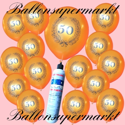 Luftballons mit der kleinen Heliumflasche, goldene Ballone mit Lorbeerkranz und der Zahl 50