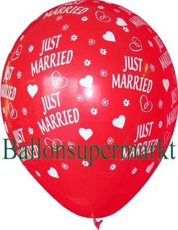 Luftballon zur Hochzeit, roter Ballon mit weißer Aufschrift: Just Married