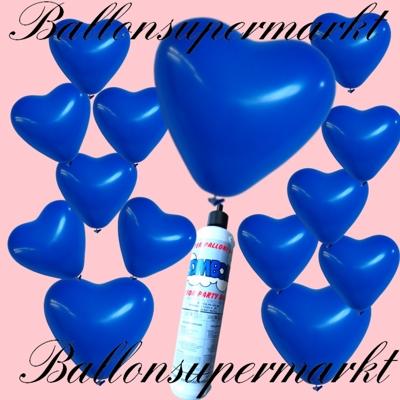 Kleines Set aus blauen Herzluftballons mit der Miniflasche Ballongas-Helium