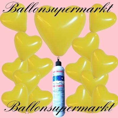 Luftballons Helium Set mit der kleinen Heliumflasche, gelbe Herzluftballons