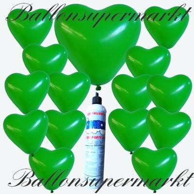 Luftballons imSet mit der Helium-Mini-Einwegflasche, grüne Herzluftballons mit Ballongas-Helium