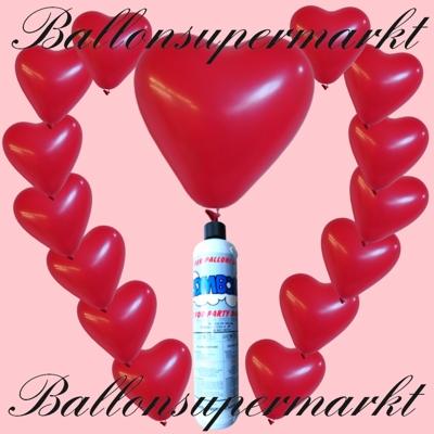 Luftballons mit Helium im Set, kleine Einweg Helium-Ballongasflasche mit roten Herzluftballons und Ballonbändern
