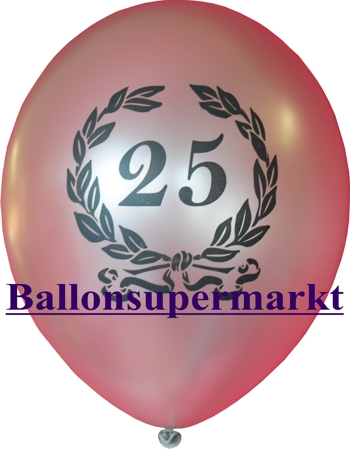 Luftballon zum 25. Jubiläum, Zahl 25 im Lorbeerkranz