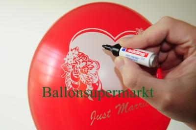 Hochzeits-Luftballon mit Textfeld, hier tragen sie die Namen des Brautpaares, den Hochzeitstag, oder Namen der Gäste des Hochzeitsfestes ein
