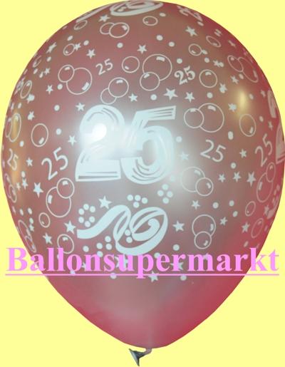 Silberner Latex-Luftballon mit der Zahl 25