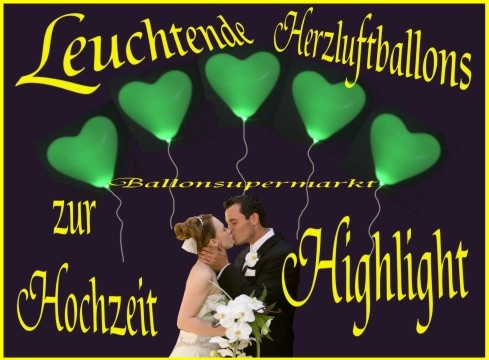 Leuchtende Herzluftballons zur Hochzeit
